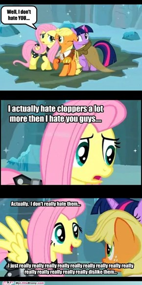 Fluttershy really really really dislikes cloppers