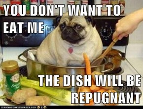 YOU DON'T WANT TO EAT ME  THE DISH WILL BE REPUGNANT