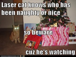 Laser cat knows who has been naughty or nice                                                                                      so beware cuz he's watching