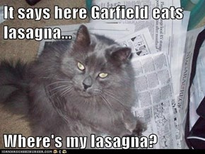 It says here Garfield eats lasagna...  Where's my lasagna?