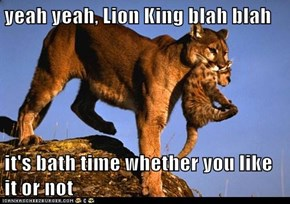 yeah yeah, Lion King blah blah  it's bath time whether you like it or not