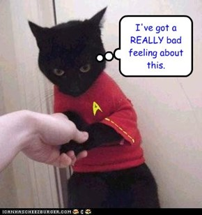 Basement Kitteh as a Red Shirt. The mind boggles.