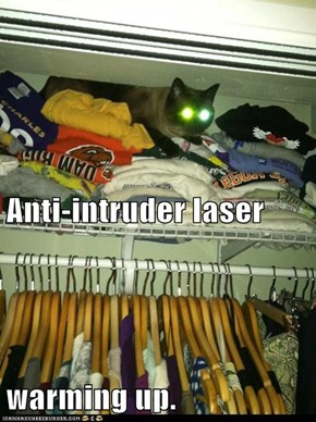 Anti-intruder laser warming up.