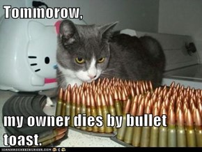 Tommorow,  my owner dies by bullet toast.