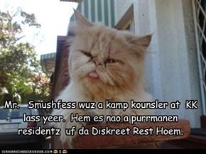 Mr.   Smushfess wuz a kamp kounsler at  KK lass yeer.  Hem es nao a purrmanen  residentz  uf da Diskreet Rest Hoem.