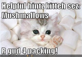 Helpful hintz kitteh sez: Mushmallows   R gud 4 packing!