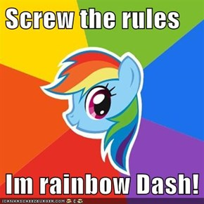 Screw the rules  Im rainbow Dash!