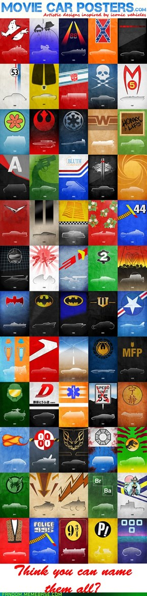 Awesome minimalist movie car posters - CAN YOU NAME THEM ALL?