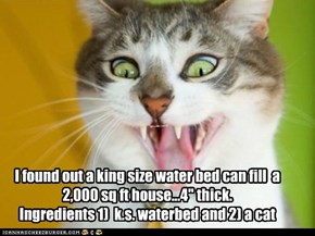"I found out a king size water bed can fill  a 2,000 sq ft house...4"" thick.  Ingredients 1)  k.s. waterbed and 2) a cat"