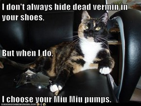 I don't always hide dead vermin in your shoes, But when I do, I choose your Miu Miu pumps.