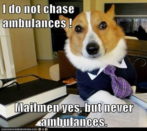 I do not chase ambulances !  Mailmen yes, but never ambulances.