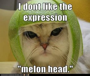 "I dont like the expression   ""melon head."""