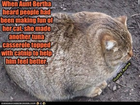 When Aunt Bertha heard people had been making fun of her cat, she made another tuna casserole topped with catnip to help him feel better.