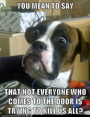 YOU MEAN TO SAY  THAT NOT EVERYONE WHO COMES TO THE DOOR IS TRYING TO KILL US ALL?