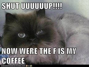 SHUT UUUUUUP!!!!  NOW WERE THE F IS MY COFFEE