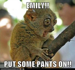 EMILY!!  PUT SOME PANTS ON!!
