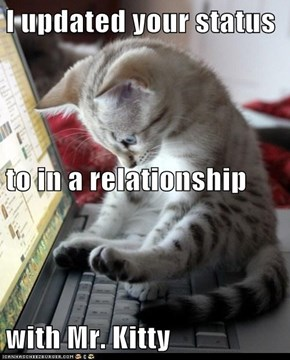 I updated your status to in a relationship with Mr. Kitty