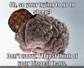 Oh, so your trying to go to sleep?  Don't worry, I'll just think of your biggest fears.