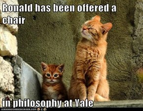 Ronald has been offered a chair  in philosophy at Yale