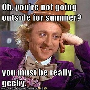 Oh, you're not going outside for summer?  you must be really geeky.