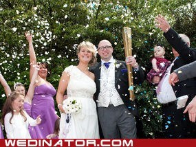 I hold aloft the Olympic torch on my special wedding day