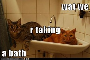 wat we r taking  a bath