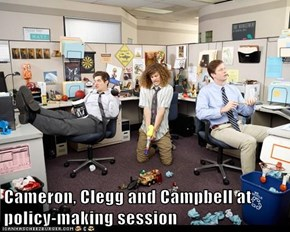 Cameron, Clegg and Campbell at policy-making session
