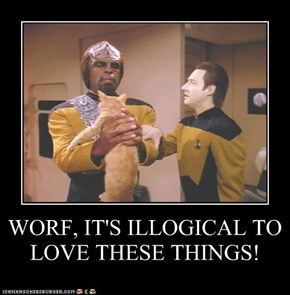 WORF, IT'S ILLOGICAL TO LOVE THESE THINGS!