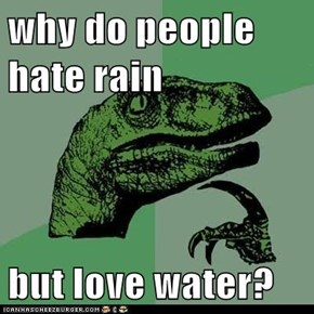 why do people hate rain  but love water?