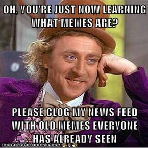 OH, YOU'RE JUST NOW LEARNING WHAT MEMES ARE?  PLEASE CLOG MY NEWS FEED WITH OLD MEMES EVERYONE HAS ALREADY SEEN