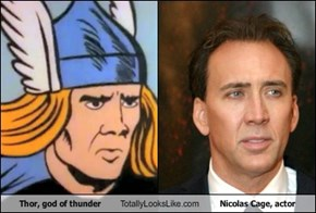 Thor, god of thunder Totally Looks Like Nicolas Cage, actor