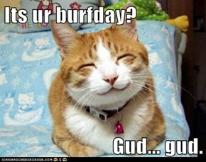 Its ur burfday?  Gud... gud.