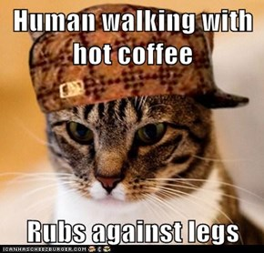 Human walking with hot coffee  Rubs against legs