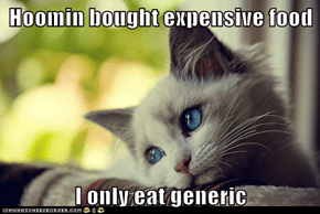 Hoomin bought expensive food  I only eat generic