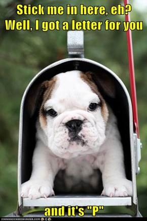 """Stick me in here, eh?             Well, I got a letter for you  and it's """"P"""""""