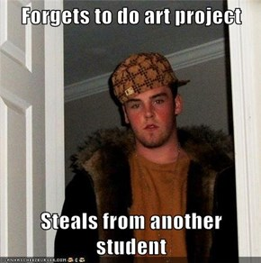 Forgets to do art project  Steals from another student
