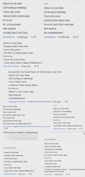 The lyrics to Caramelldansen according to the interwebz