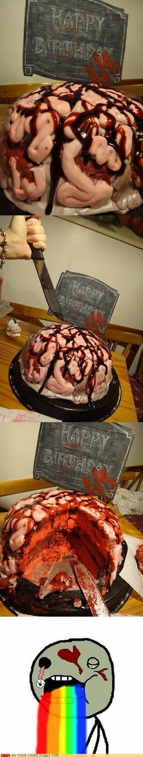Zombie Brain Birthday Cake