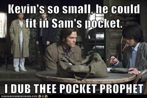 Kevin's so small, he could fit in Sam's pocket.  I DUB THEE POCKET PROPHET