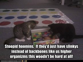 Stoopid hoomins.  If they'd just have slinkys instead of backbones like us higher organizms this woodn't be hard at all!