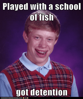 Played with a school of fish  got detention