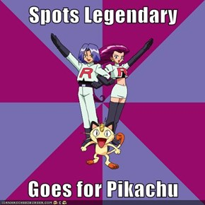 Spots Legendary  Goes for Pikachu