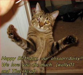 Happy Birthday, our alisaorrdaisy!! We love you dis much. (wally01 and The Herd)