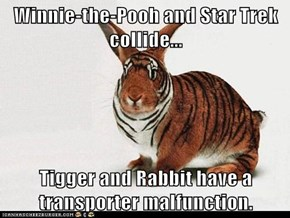 Winnie-the-Pooh and Star Trek collide...  Tigger and Rabbit have a transporter malfunction.