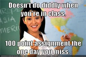 Doesn't do diddly when you're in class.  100 point assignment the one day you miss.
