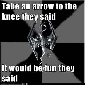Take an arrow to the knee they said  It would be fun they said