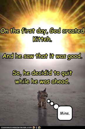 On the first day, God created Kitteh.  And he saw that it was good.  So, he decidid to quit  while he was ahead.