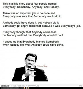 everybody, somebody, anybody, and nobody's story
