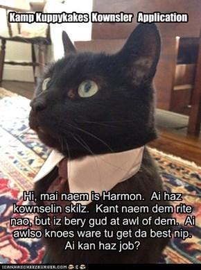 Hi, mai naem is Harmon.  Ai haz kownselin skilz.  Kant naem dem rite nao, but iz bery gud at awl of dem.  Ai awlso knoes ware tu get da best nip. Ai kan haz job?