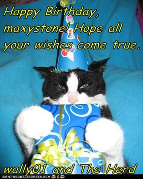 Happy Birthday, maxystone! Hope all your wishes come true.  wally01 and The Herd